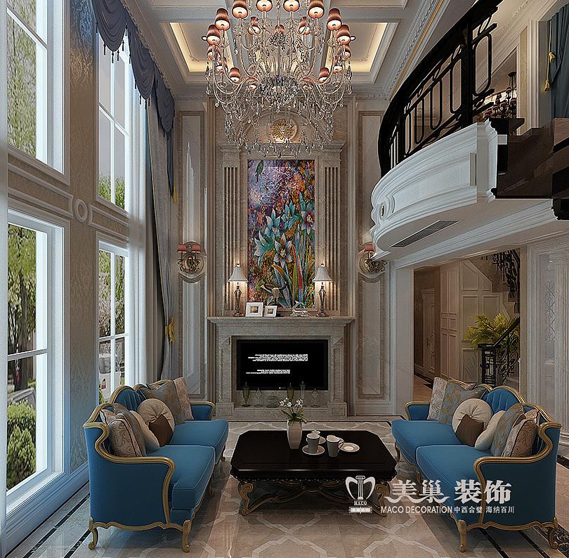 郑州正弘蓝堡湾简欧风格装修效果图复式220平——一楼楼梯图片