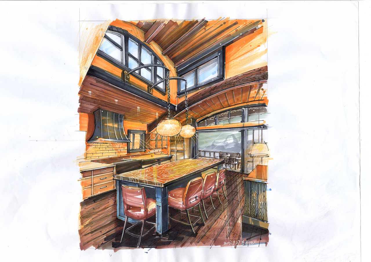 室内设计效果图手绘_室内设计效果图马克笔手绘|空间|室内设计|李书妮 - 原创作品 ...
