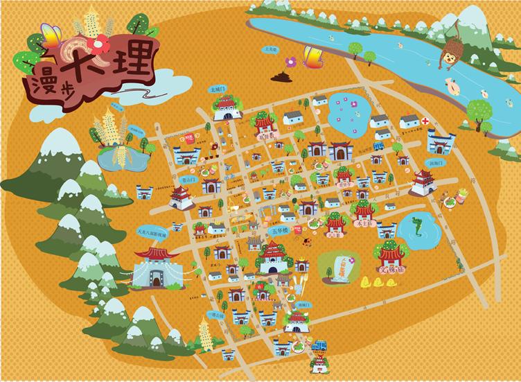 云南地区q版旅游地图