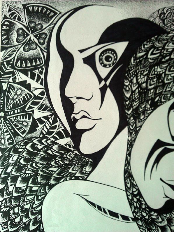 手绘黑白装饰画|绘画习作|插画|大辛