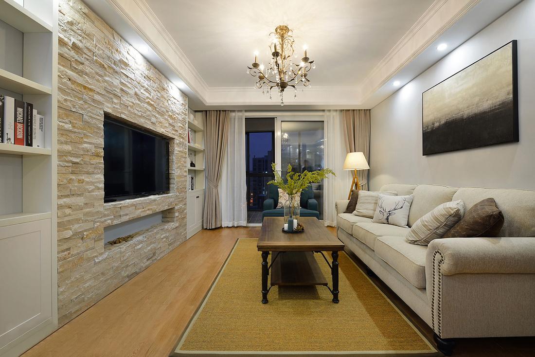 成都中环岛94平米二居室简约美式风格装修效果图
