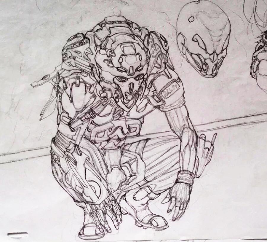 科幻手绘线稿|插画|插画习作|3戈戈 - 原创作品
