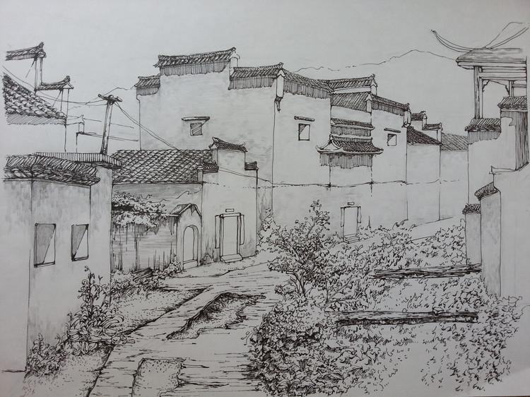 古镇风景速写 宏村写生|速写|纯艺术|小晗儿青青草图片