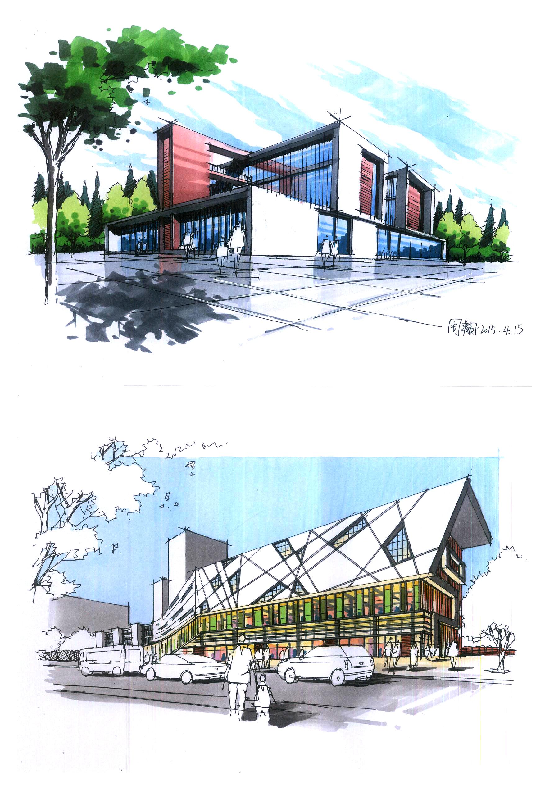 建筑手绘|空间|建筑设计|zzdy.lx - 原创作品 - 站酷