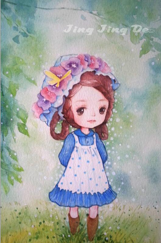 手绘水彩图|商业插画|插画|静静的童画