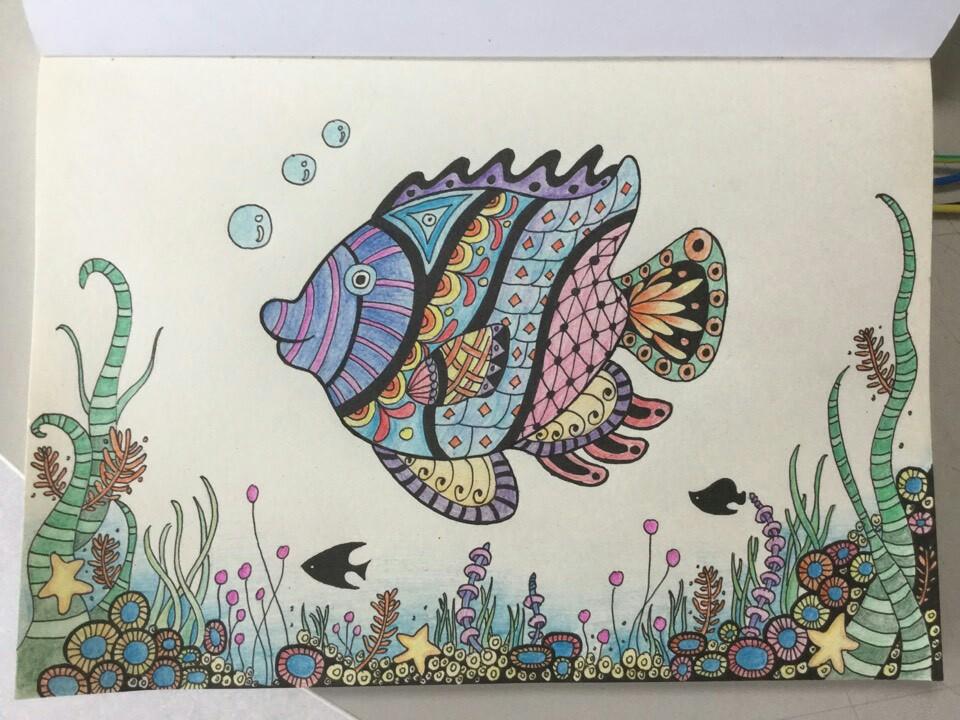彩铅手绘 禅绕画练习 海底世界
