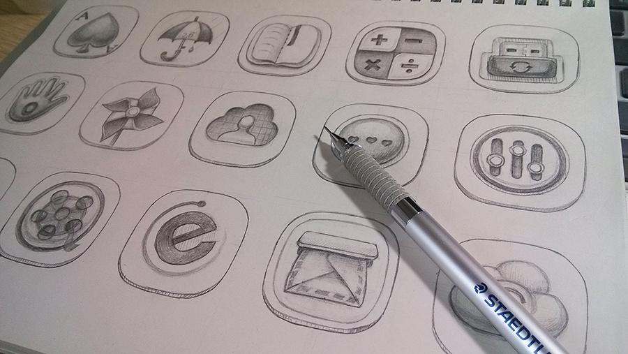 手机图标手绘稿