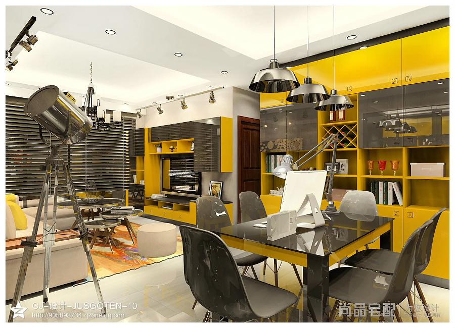 工业大储物客方案演变的个性高亮黄调餐厅风跨室内设计v工业时尚说明书图片