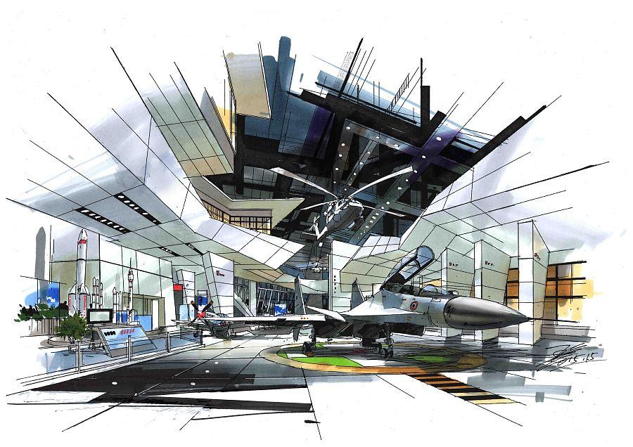 展示空间设计手绘|室内设计|空间/建筑|王姜