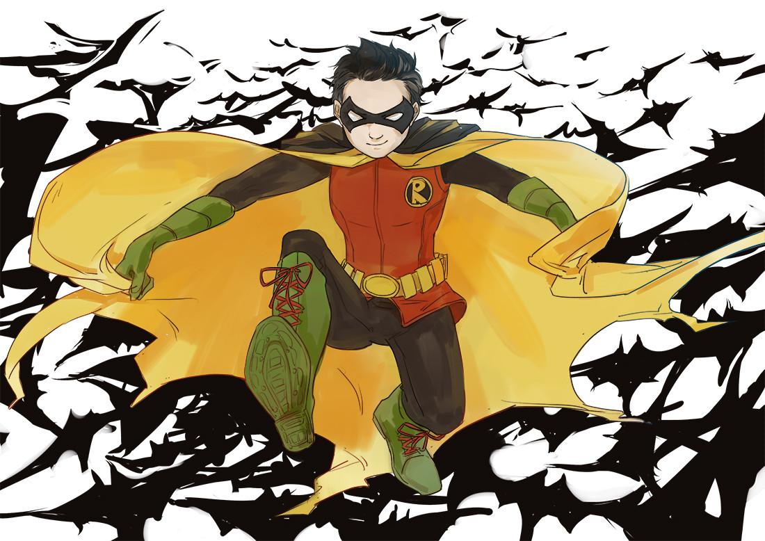 蝙蝠侠罗宾黑白手绘