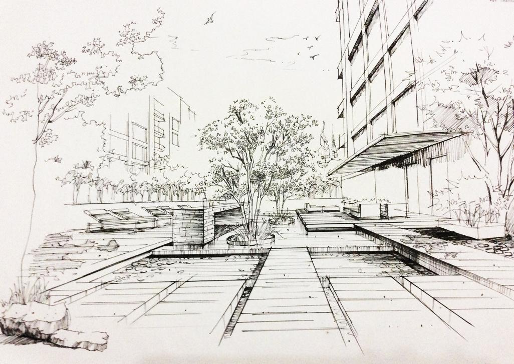 手绘—线稿|空间|景观设计|小辛酱 - 原创作品 - 站酷