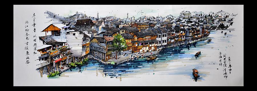 钢笔画 马克笔手绘 凤凰古城全景