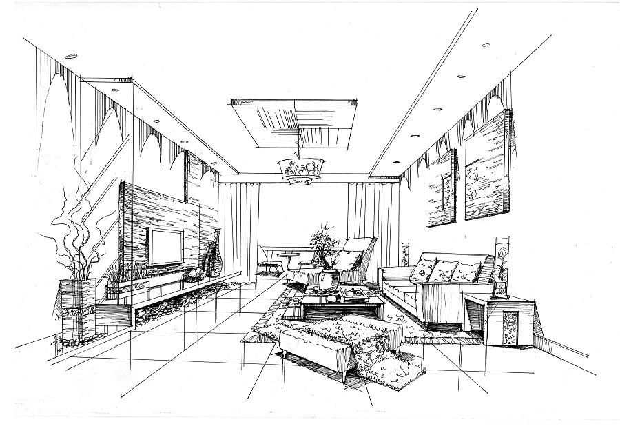 客厅设计手绘|室内设计|空间/建筑|mhc绘