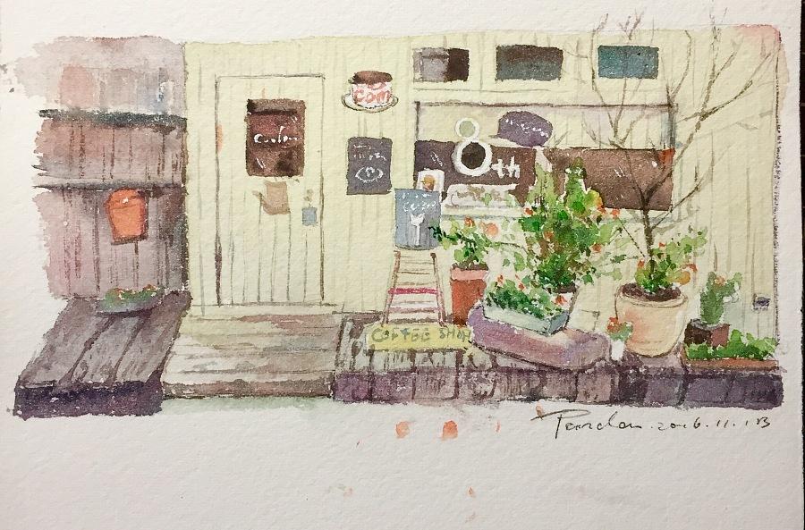 【小熊猫】水彩手绘教程水彩风景旅行手帐一家小店