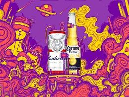 LINLIN DESIGN WORK SHOW-京东1号店啤酒活动手绘页面