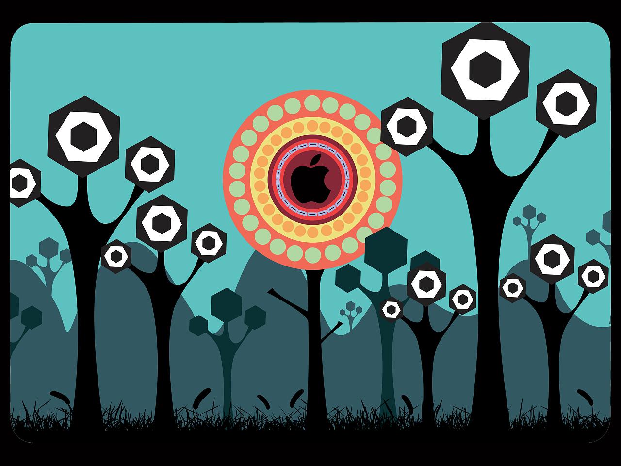 创意皮肤设计大赛(第一季)                          科幻树跟苹果图片