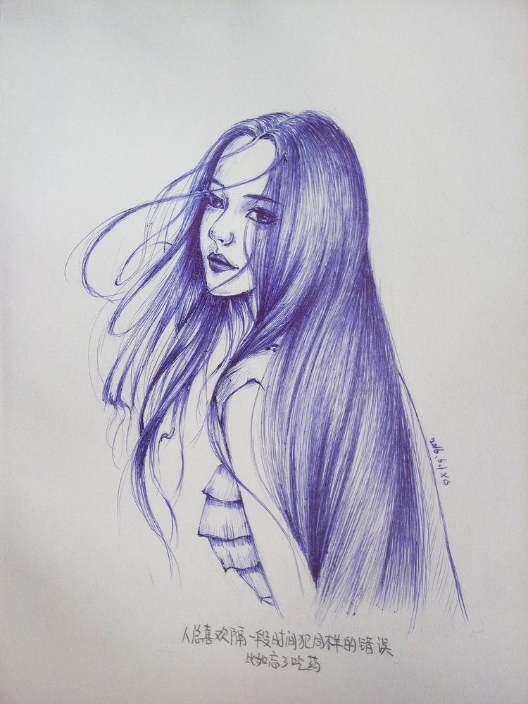 去年的一些圆珠笔画|绘画习作|插画|行歌ing