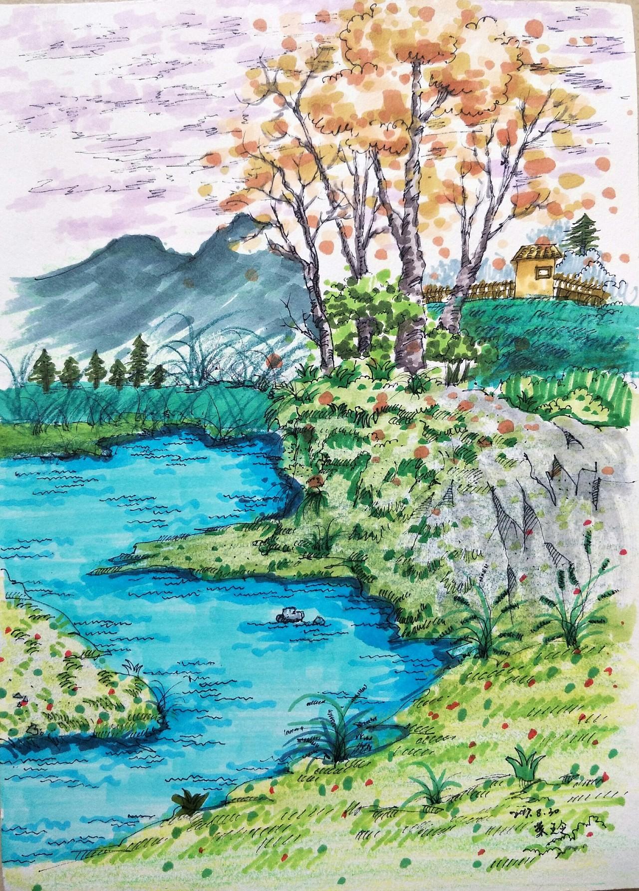 马克笔手绘风景