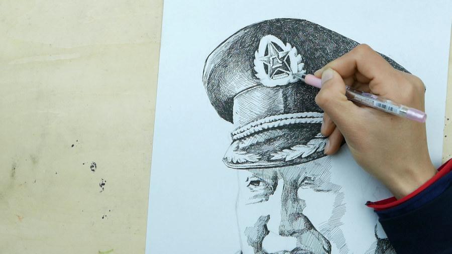 中性笔画人物素描|钢笔画|纯艺术|蔡广庆 - 原创