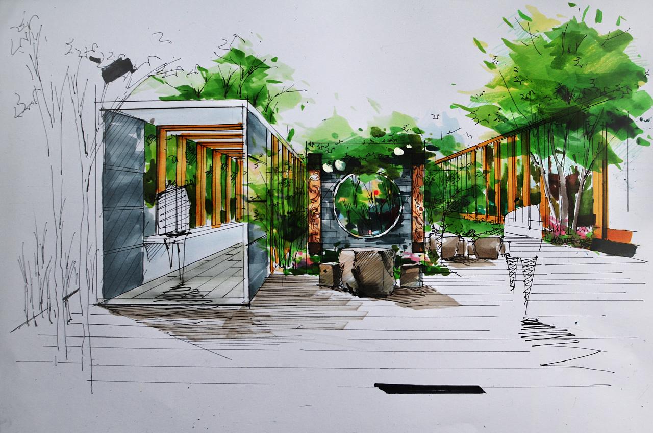 马克笔手绘景观 建筑 室内/钢笔/圆珠笔