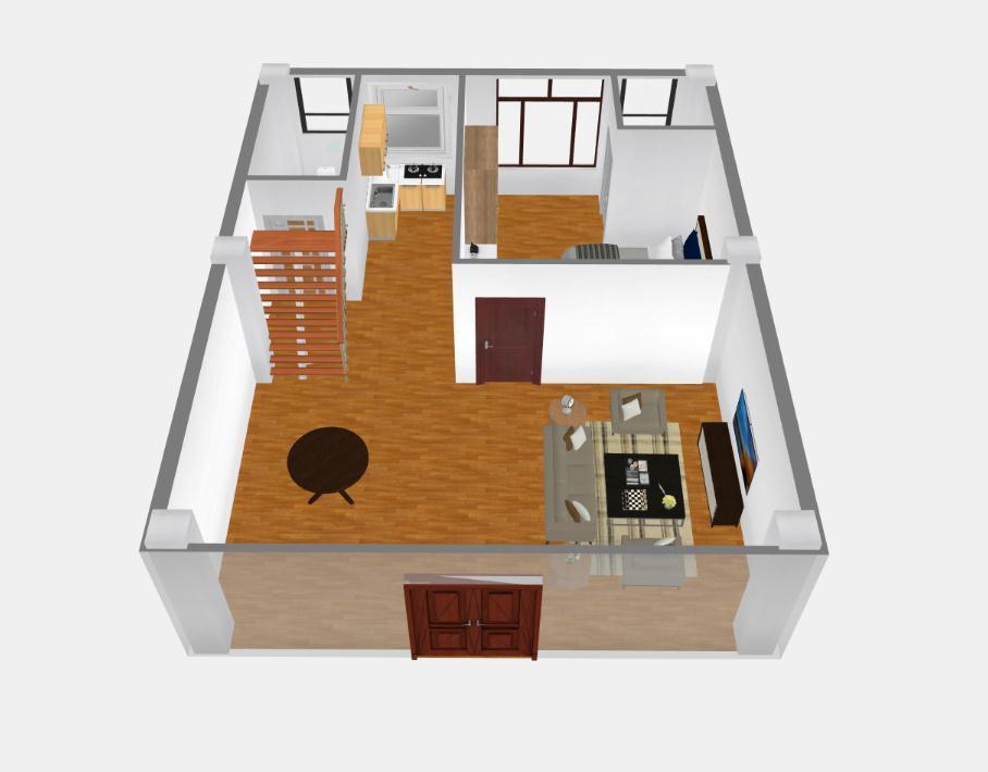 单间复式小木屋平面图