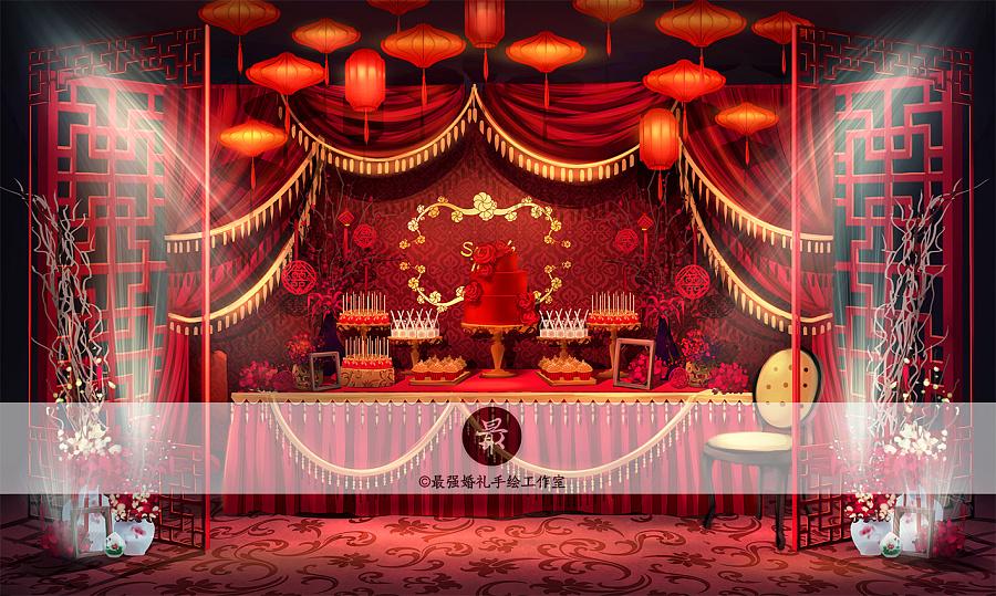 【婚礼手绘】电脑手绘中式甜品区