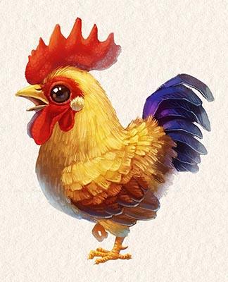 手绘萌宠鸡