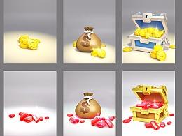 3D充值金币宝石图标练习