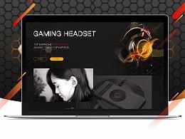 头戴式耳机电商阿里巴巴国际站旺铺网页商业设计