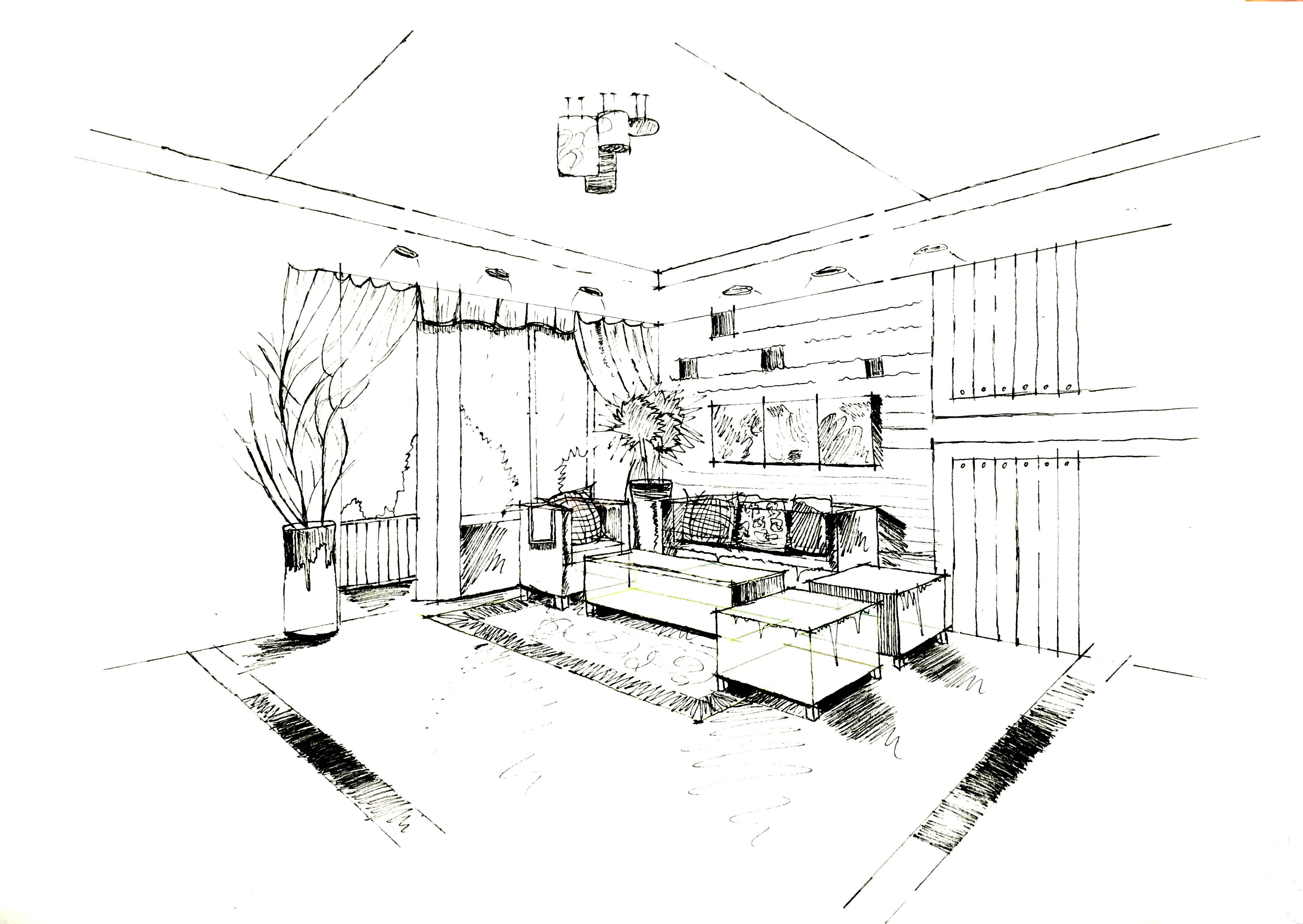 手绘|空间|室内设计|阿力特 - 原创作品 - 站酷