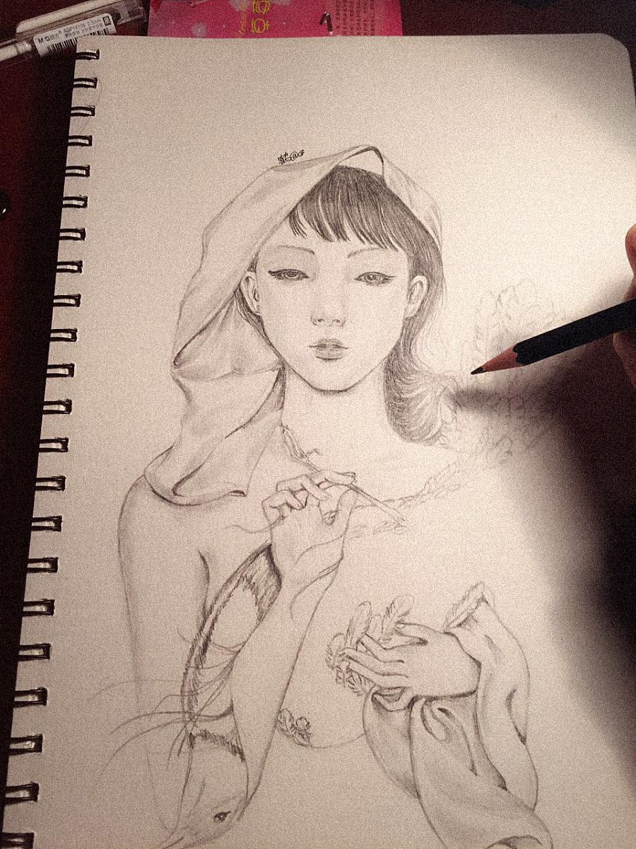【手绘】女人---铅笔画