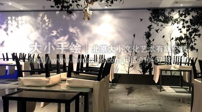 店精品餐厅手绘墙壁画