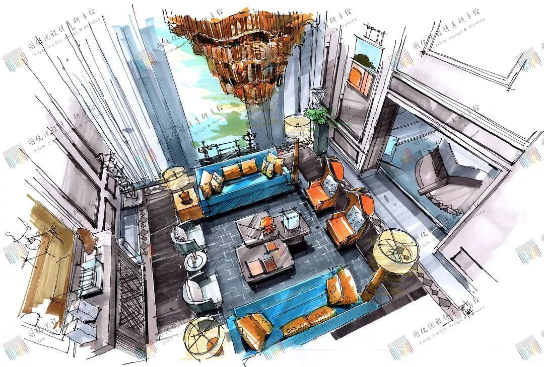室内设计手绘马克笔表现|空间|室内设计|图优优设计素材设计书籍封面黑白图片