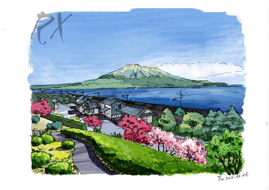 【手绘风景明信片】日本鹿儿岛|商业插画|插画|溶萱