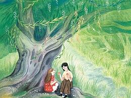 儿童文学作品《朵朵的星》水彩手绘插画