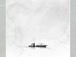 我的极简国画小品《渔舟一叶江吞天》