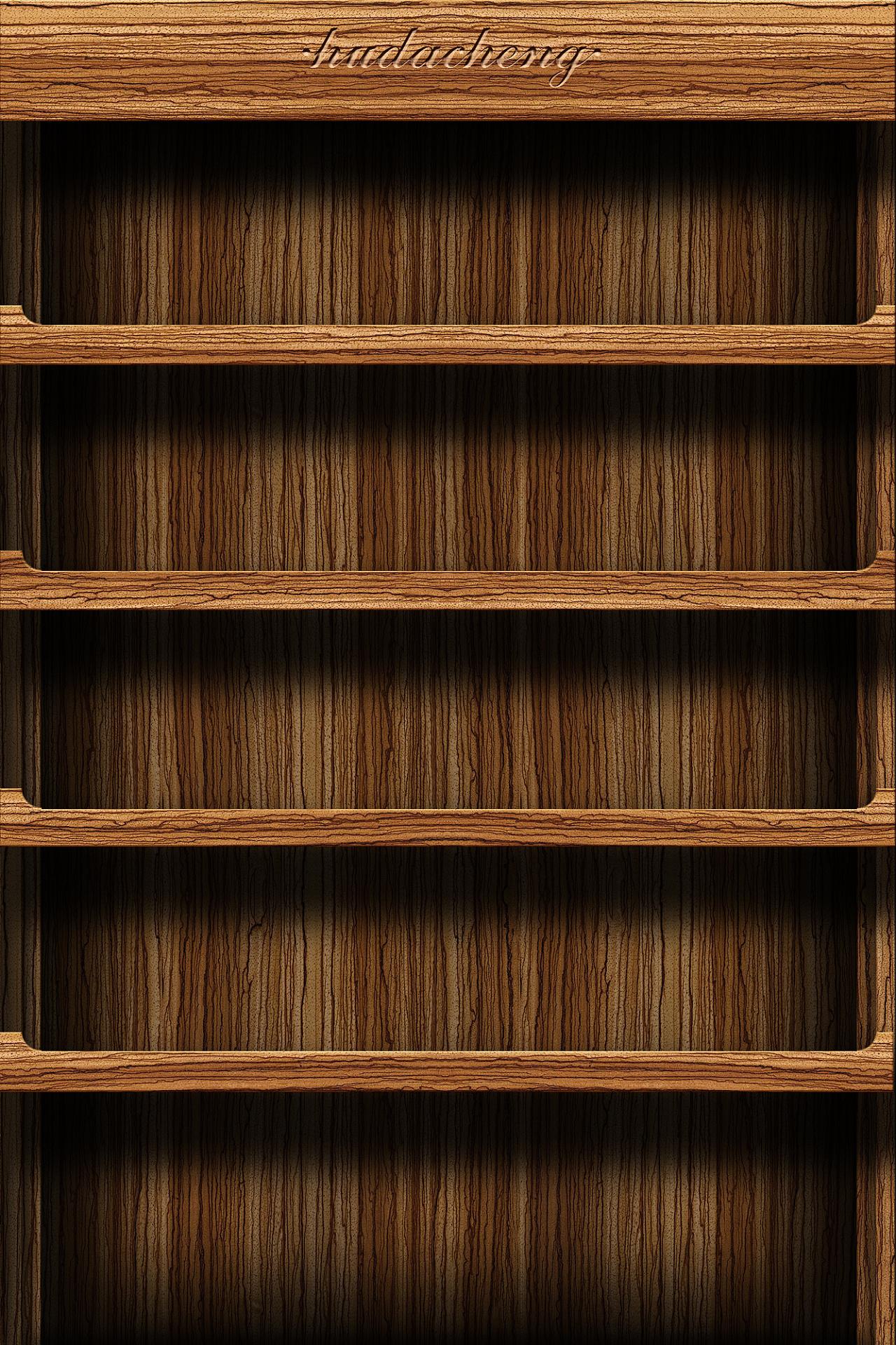 自己画的书架壁纸 魅族mx的 拿去用吧