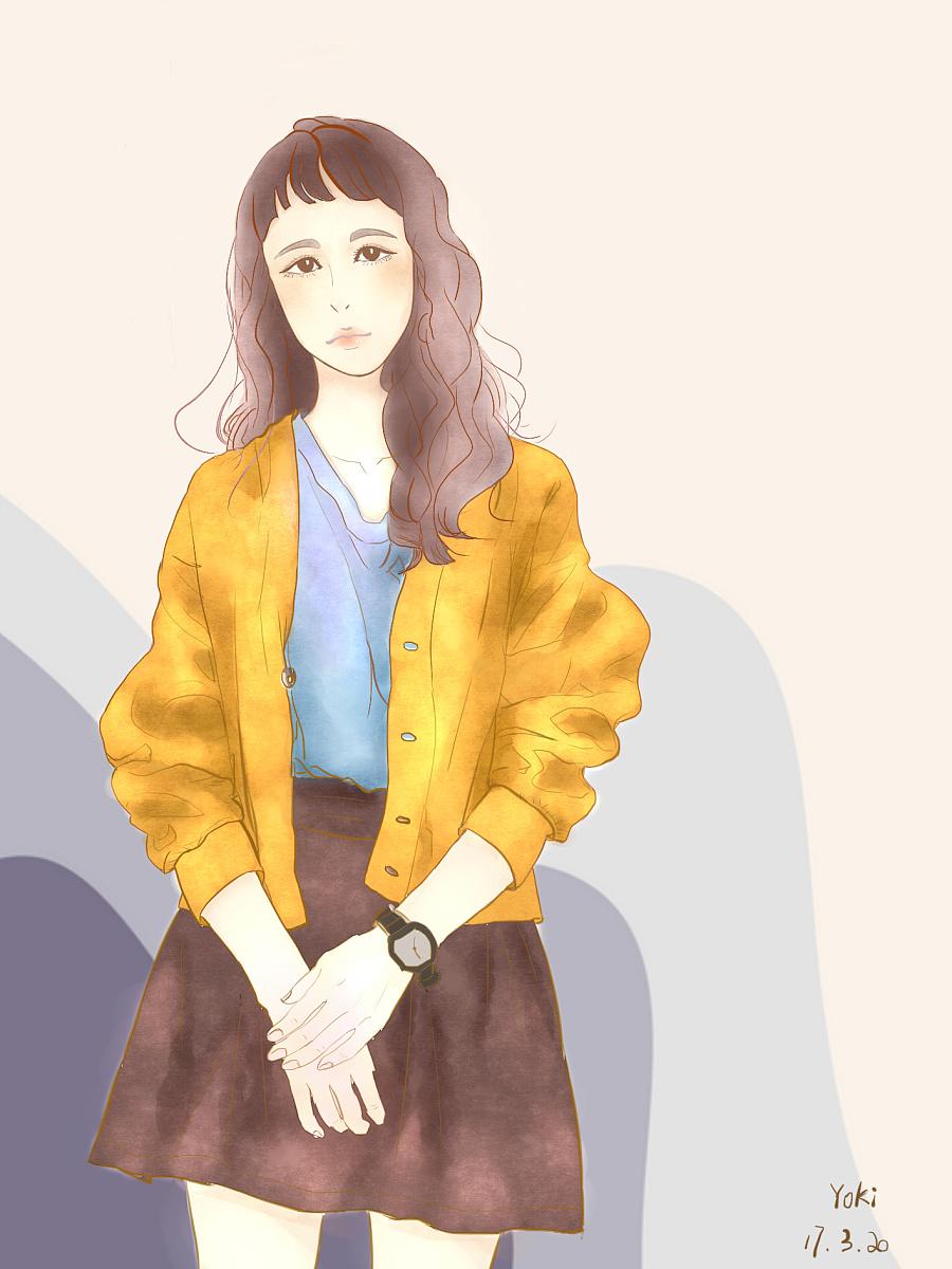 手绘日常穿搭效果|休闲/流行服饰|服装|yoki喵 - 原创