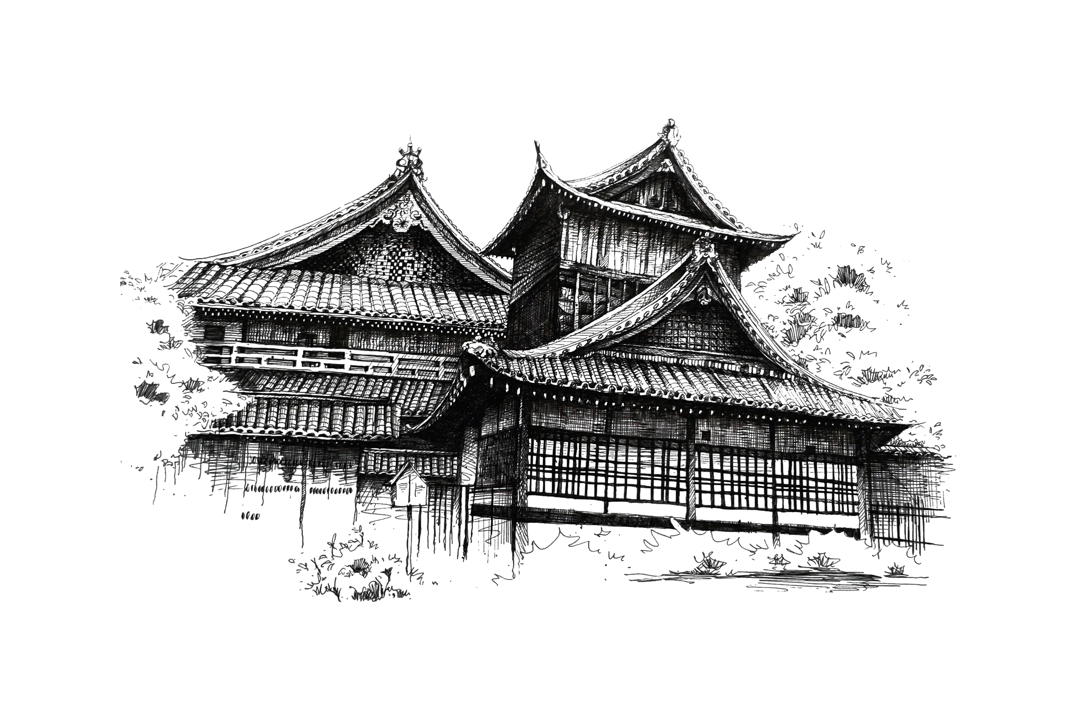 手绘建筑(签字笔)|纯艺术|其他艺创|jedrectsai