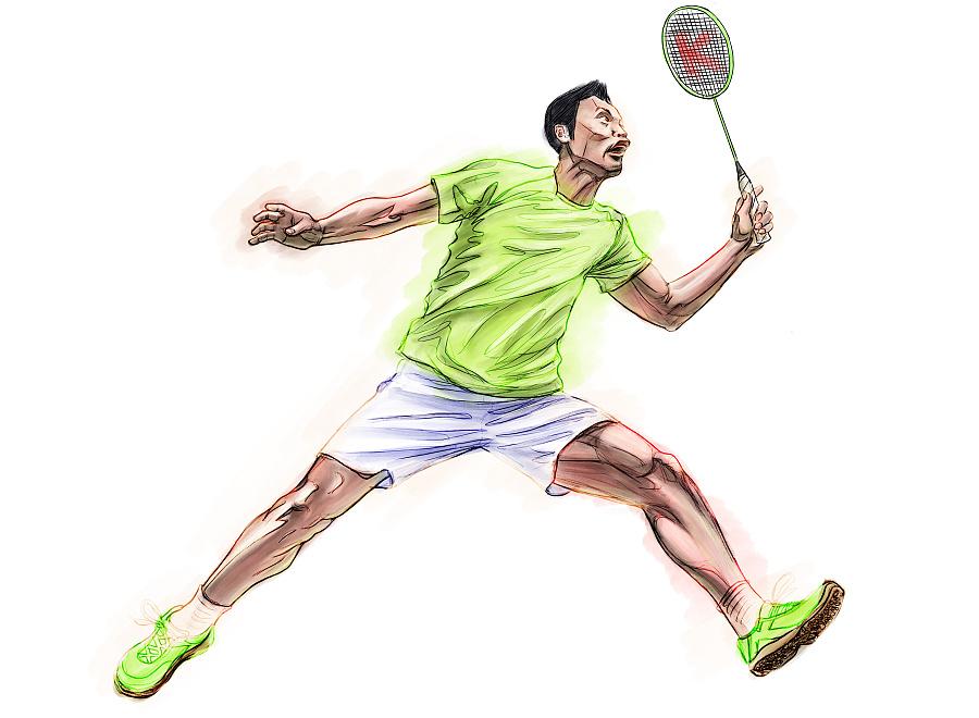 ipad手绘羽毛球运动