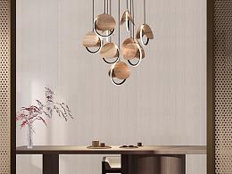 [木修远-思圆]原创新中式软装实木吊灯室内搭配