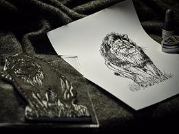 手工橡皮章——狮子