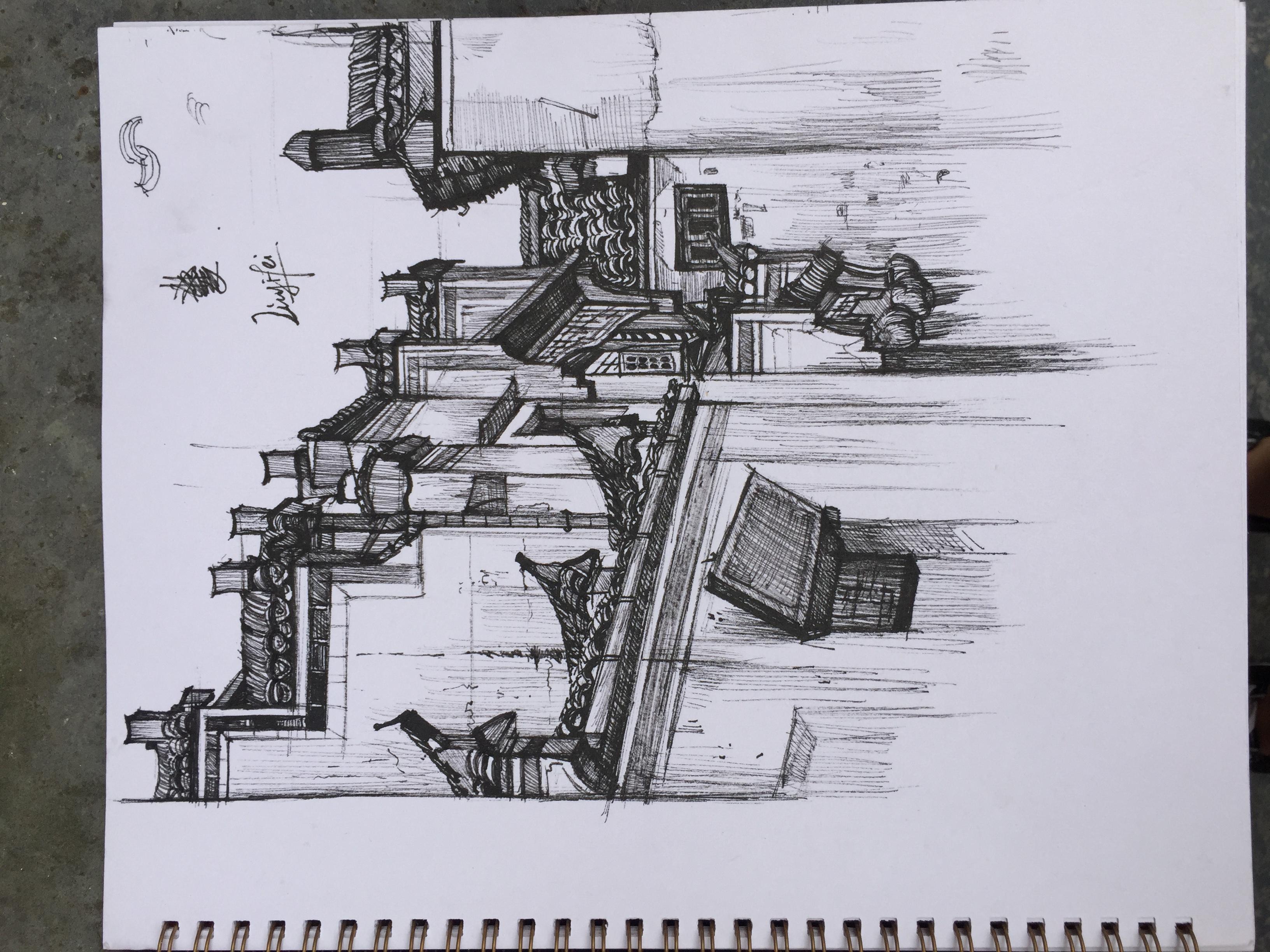 建筑论+�yf_徽式建筑|纯艺术|速写|joannayf - 原创作品 - 站酷