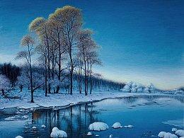 原创风景油画作品《冬季日出》