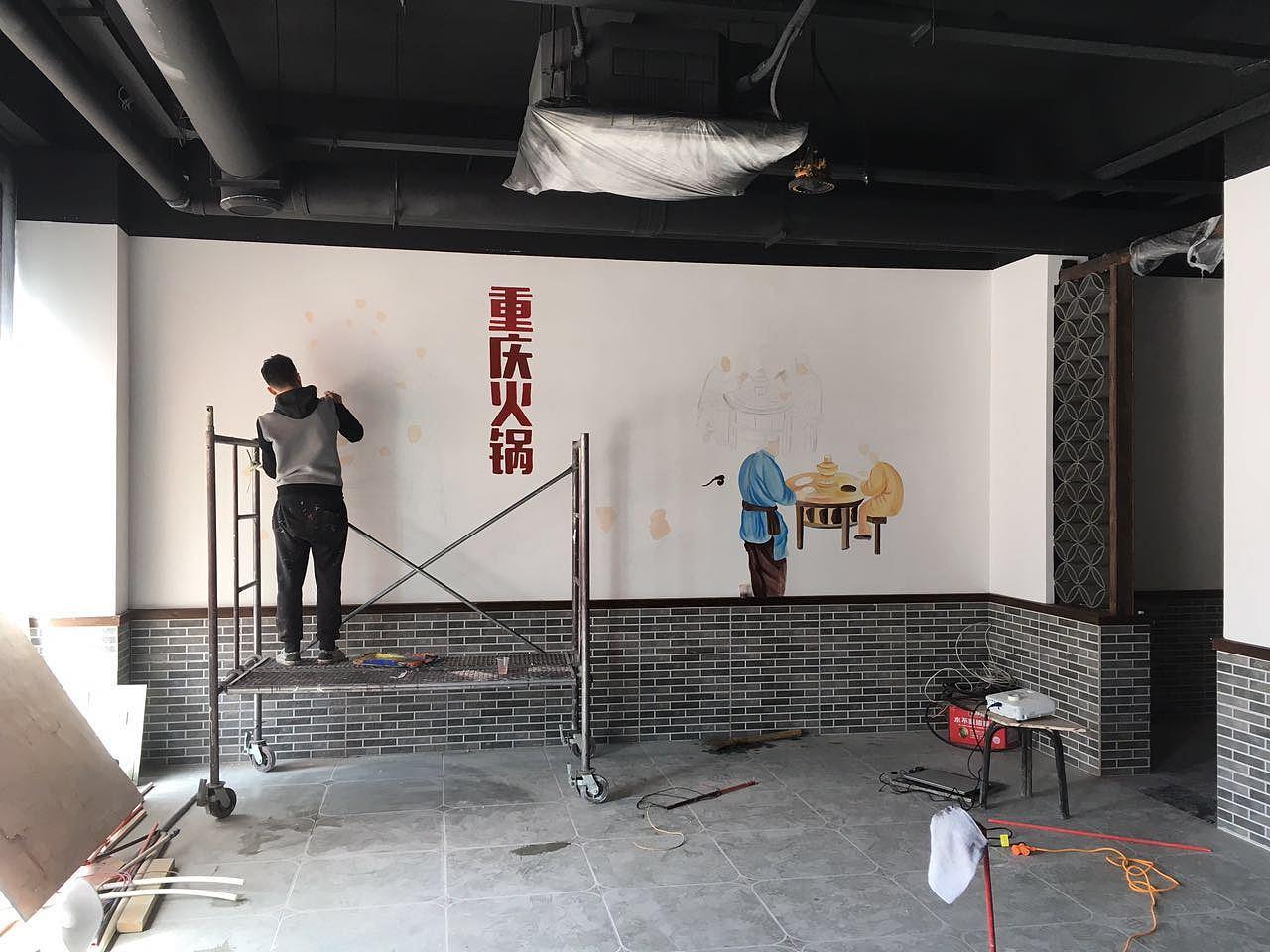 太原火锅店墙绘彩绘