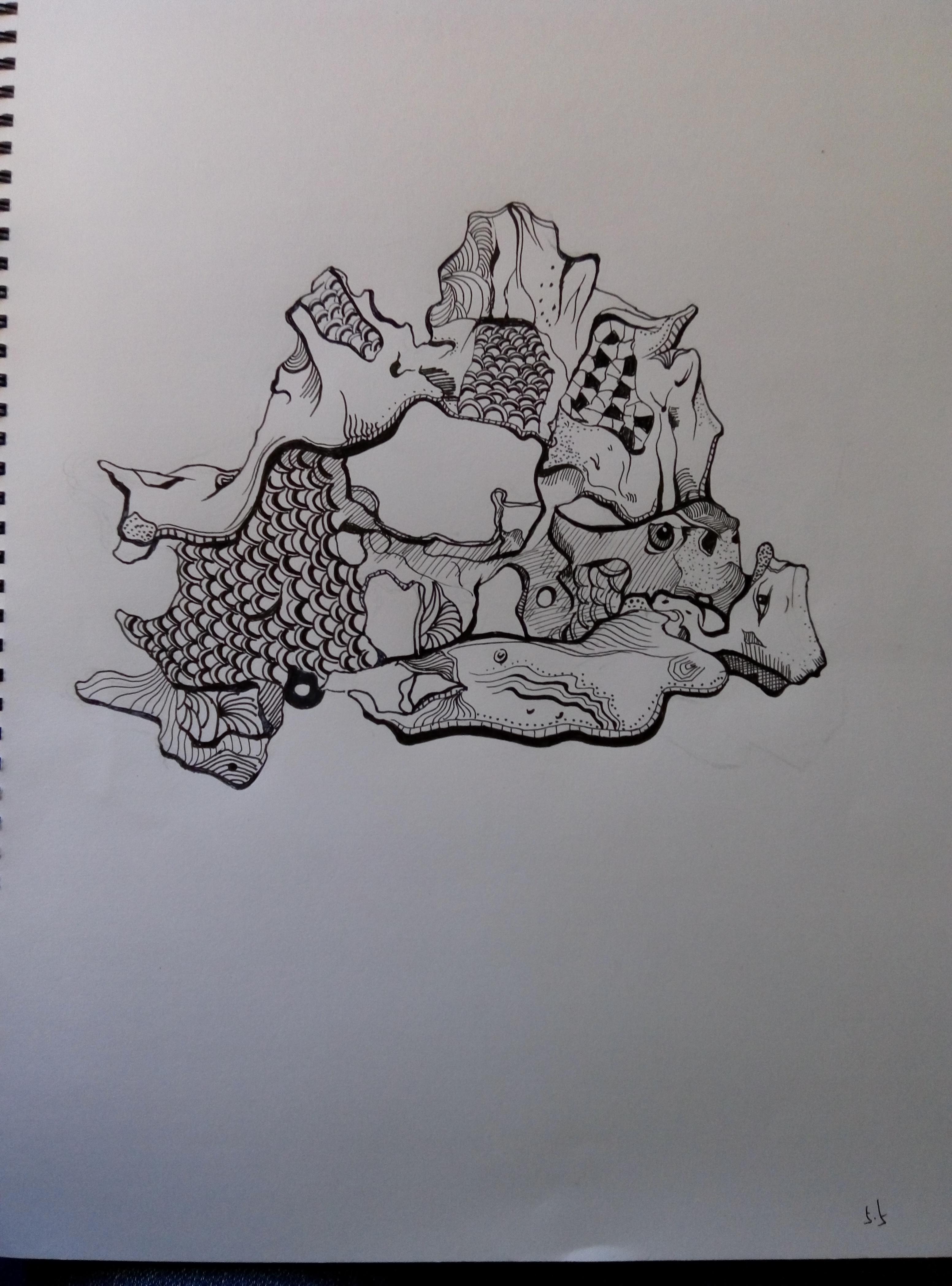 手绘满地树桩图片