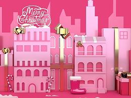 【练习】圣诞C4D建模渲染海报