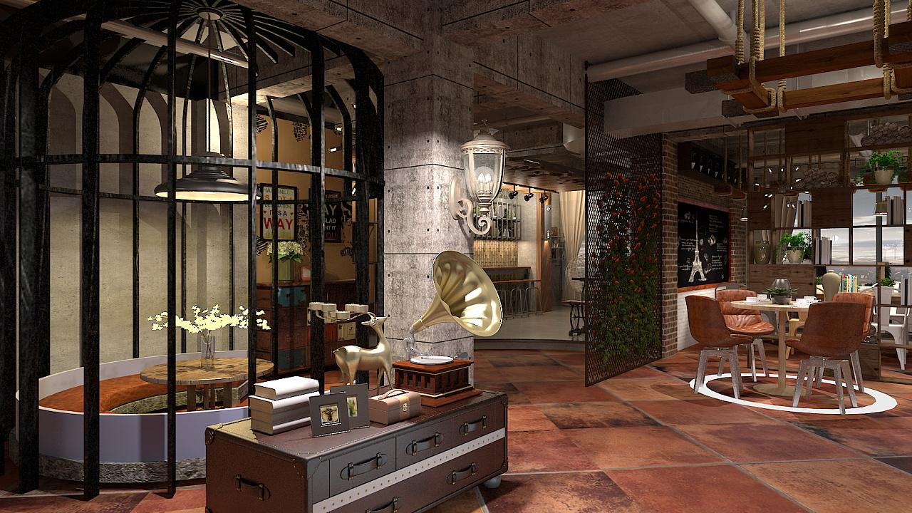 哈氏设计-- 工业复古咖啡厅|空间|室内设计|ggha1234