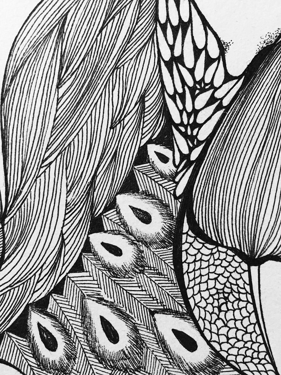 黑白线条插画|钢笔画|纯艺术|风雨萧萧到谢桥 - 原创