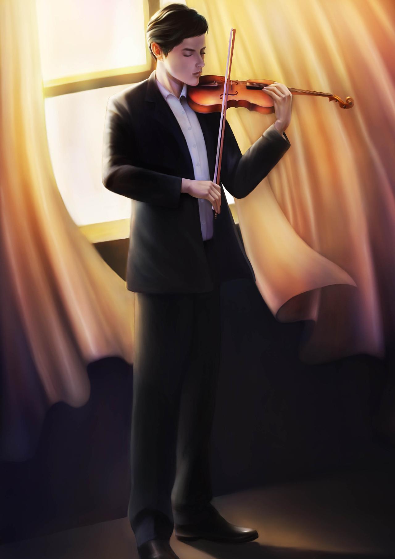 拉小提琴哒